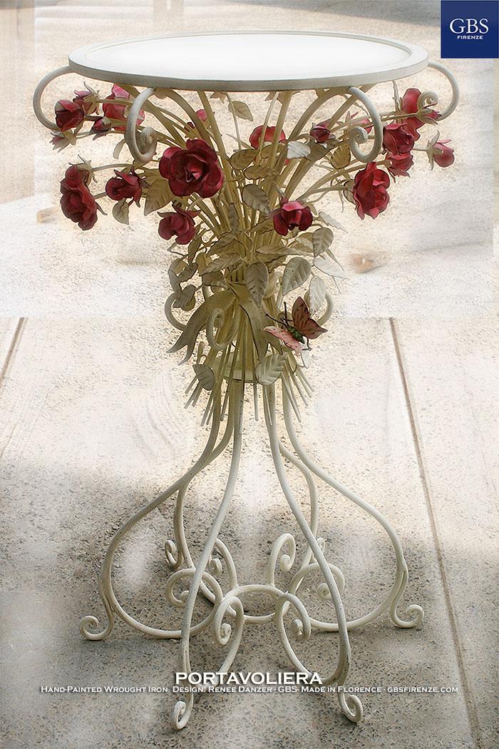 Tavolino Portavoliera Rose e Farfalla - Ferro Battuto - GBS - Design: Renee Danzer