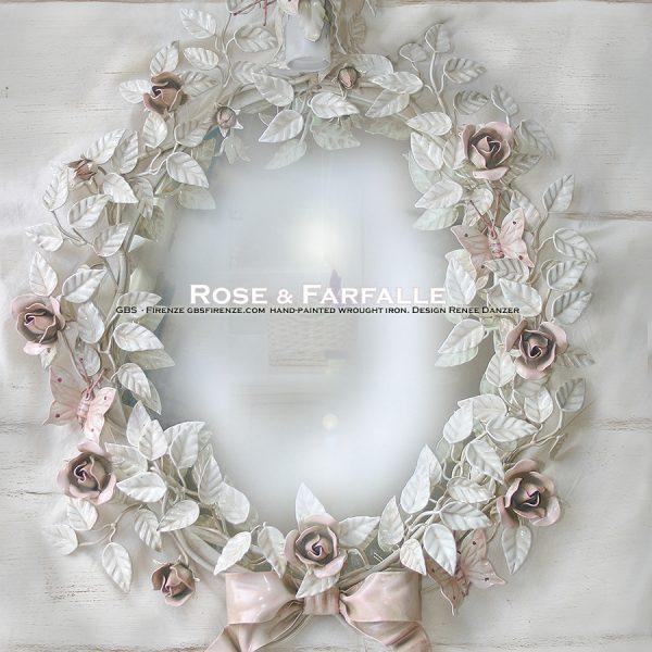 Specchiera Rose Farfalle e Fiocco. Ovale. Ferro battuto