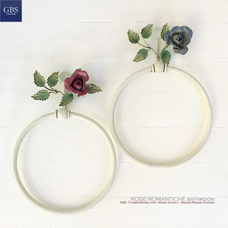 Bagno Rose Romantiche.Portasciugamani ad anello.