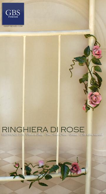 Ringhiera con Rose rampicanti. Su misura. Balcone fiorito in ferro battuto