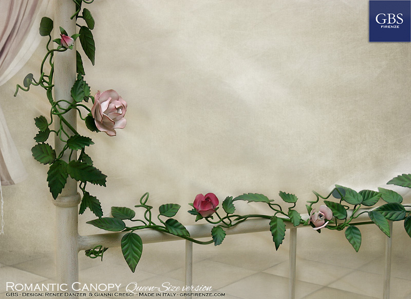 Detail: Romantic Canopy Bed. Climbing Roses. Hand-painted wrought iron bed with climbing roses and blossoms
