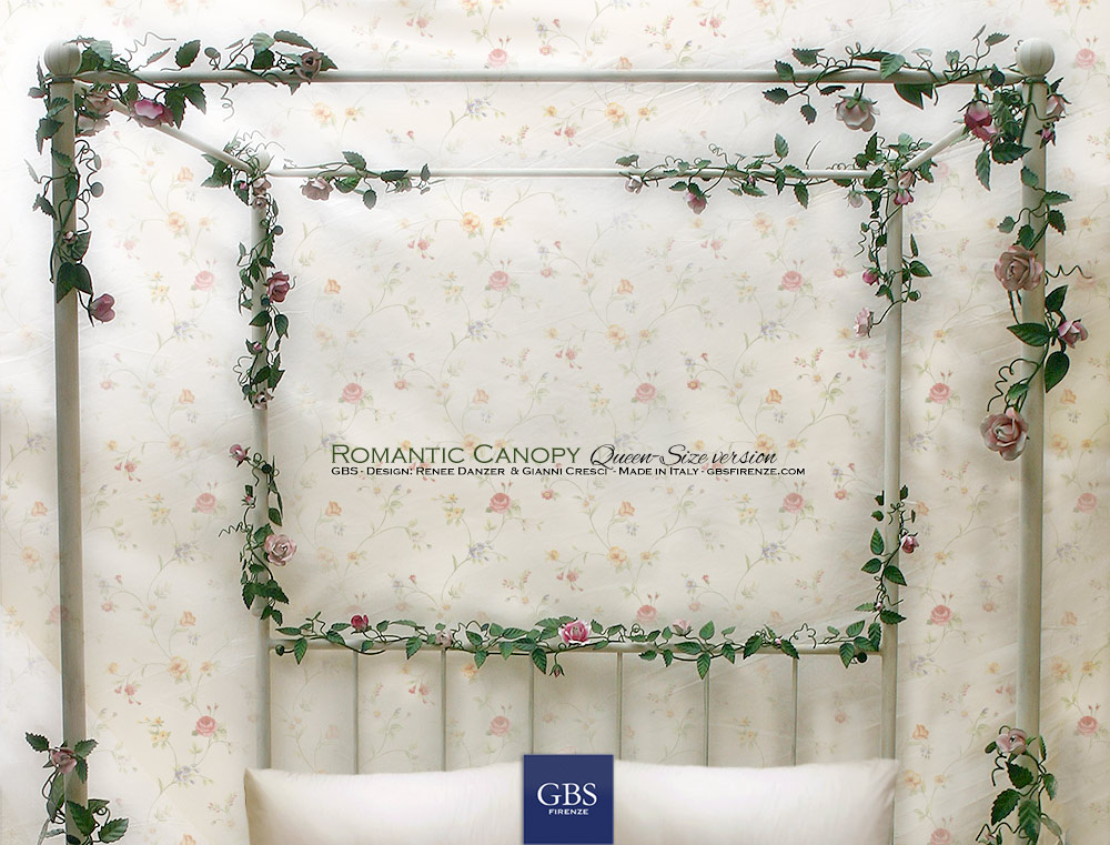 Romantic Canopy Bed. Climbing Roses. Hand-painted wrought iron bed with climbing roses and blossoms