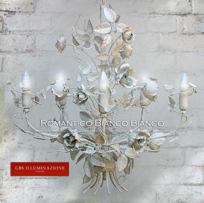 Lampadario Romantico Rose Bianche - Perfetto per la camera da letto