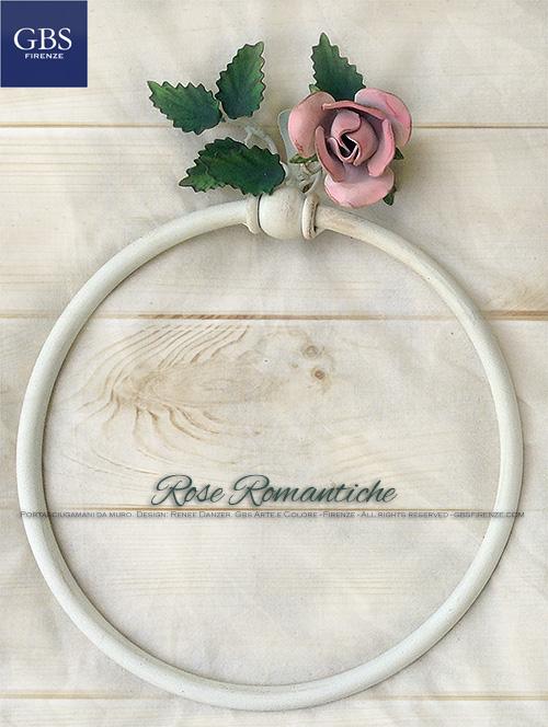 Rose Romantiche Bagno Portasciugami parete GBS Ferro Battuto