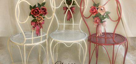 Sedia Bouquet di Rose. Fiocco. In ferro battuto. Lo sabbi romantico di GBS.
