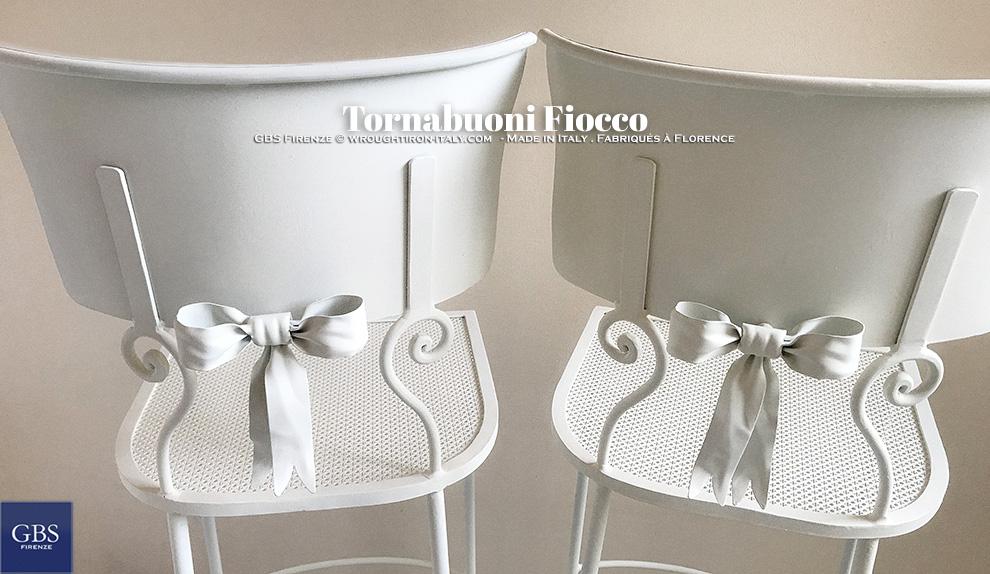 Sedia Tornabuoni Fiocco. Ferro battuto. Made in Italy. GBS Firenze