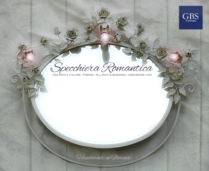 Specchiera ovale orizzontale con rose bianche. Romantica per il bagno e la camera da letto