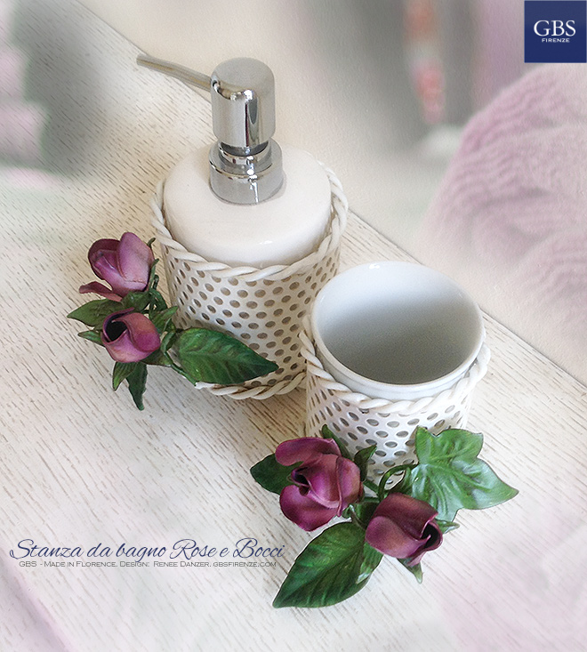 Blossoms and Roses Bathroom. Toothbrush holder and soap dispenser. Wrought iron.
