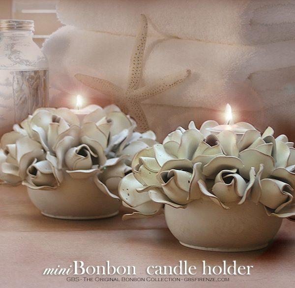 Centrotavola miniBonbon Candel Holder. Portacandele.14 bocci di rosa